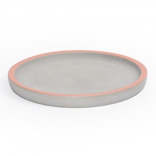 Bandeja redonda de concreto com borda Cobre