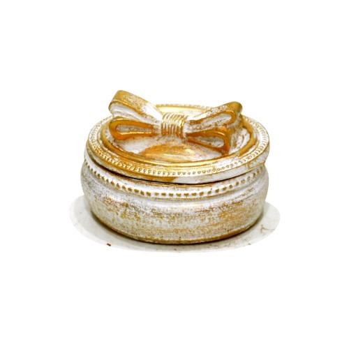 Porta Jóia Branco e Dourado com laço