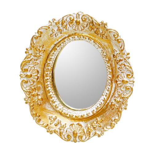 Moldura com espelho Branco e Dourado