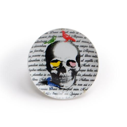 Prato de parede de porcelana Skull