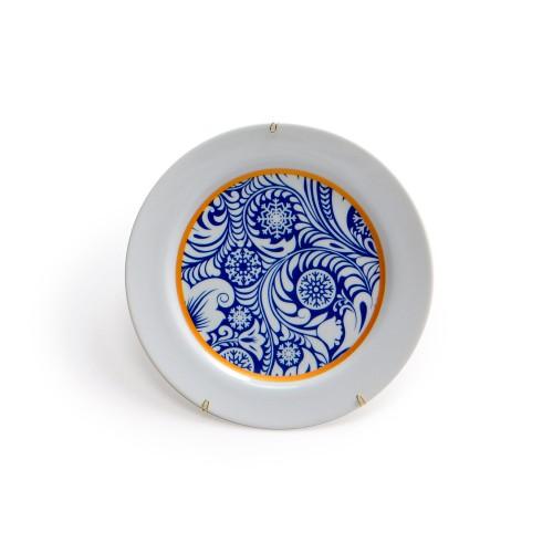 Prato de parede de porcelana Arabesco Azul