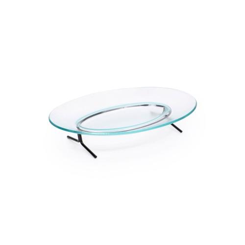Travessa oval pequena com suporte de ferro