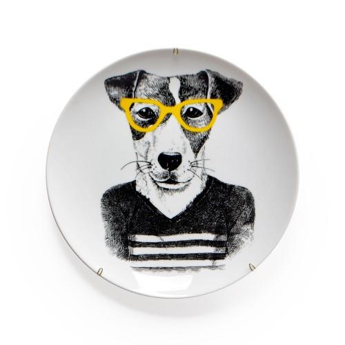 Prato de parede de porcelana Cachorro