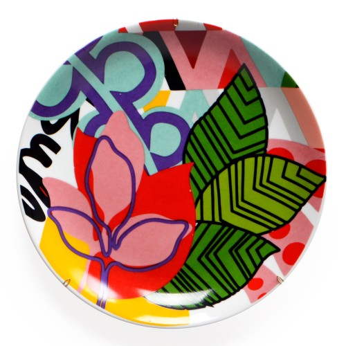 Prato de porcelana de parede Floral