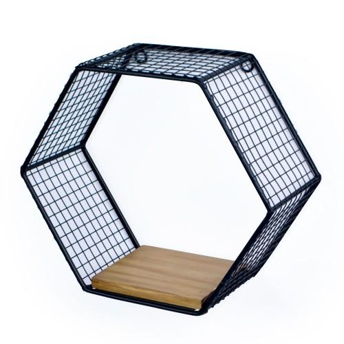 Nicho Hexagonal de Madeira e Ferro