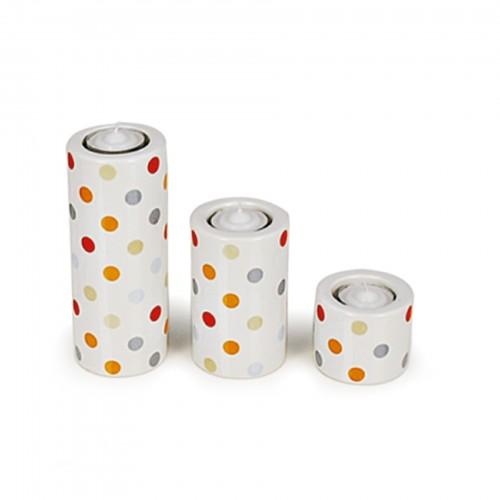 Conjunto de 03 porta velas de cerâmica com velas