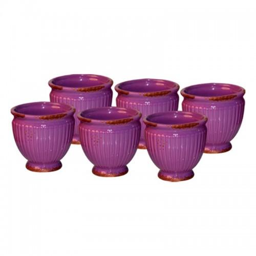 Conjunto com 06 cachepôs de cerâmica Roxo